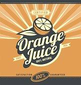 Orange juice retro ad concept. Vintage fresh drink graphic design poster. Fruit and leaf.