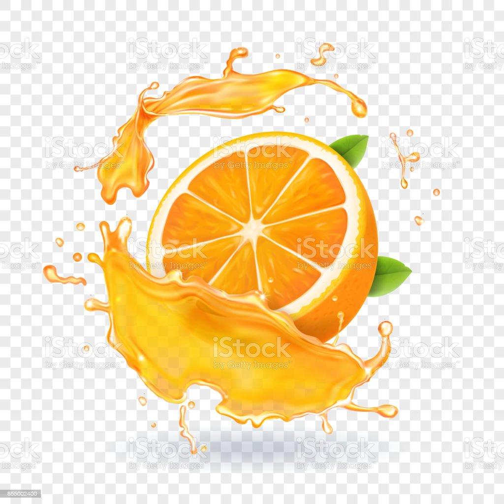 Orange juice splash. Realistic 3d fruit