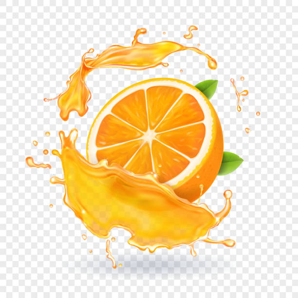 orange juice splash. realistic 3d fruit - orange color stock illustrations
