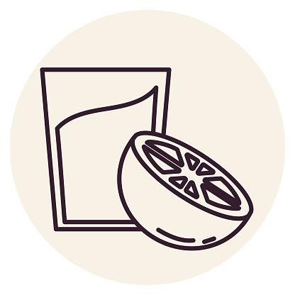 Orange Juice - Thin Line Breakfast Icon
