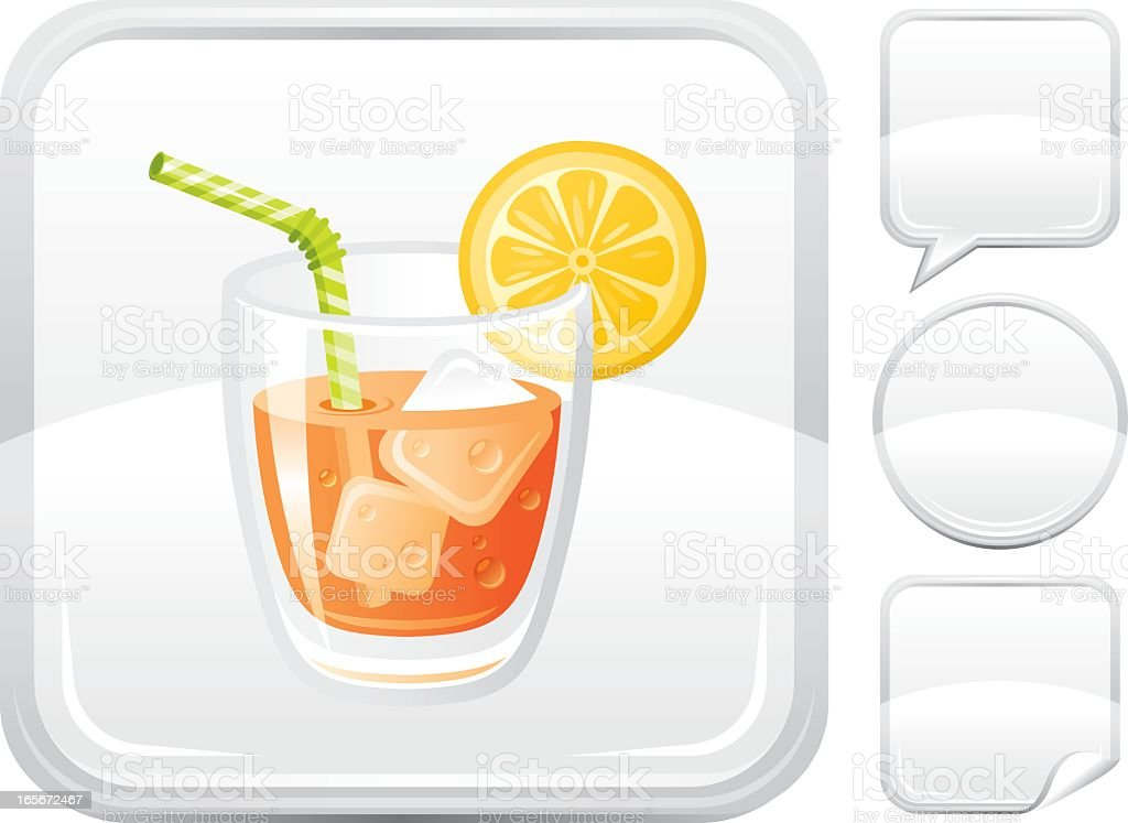 Orange juice with lemon  icon on silver button royalty-free orange juice with lemon icon on silver button stock vector art & more images of alcohol