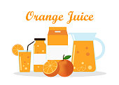 Orange juice with pack template packaging design - vector illustration