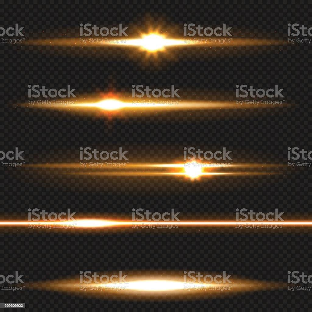 Orange laser beams pack vector art illustration