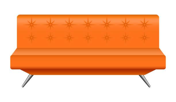 orange leder sofa mockup, realistischen stil - funktionssofa stock-grafiken, -clipart, -cartoons und -symbole