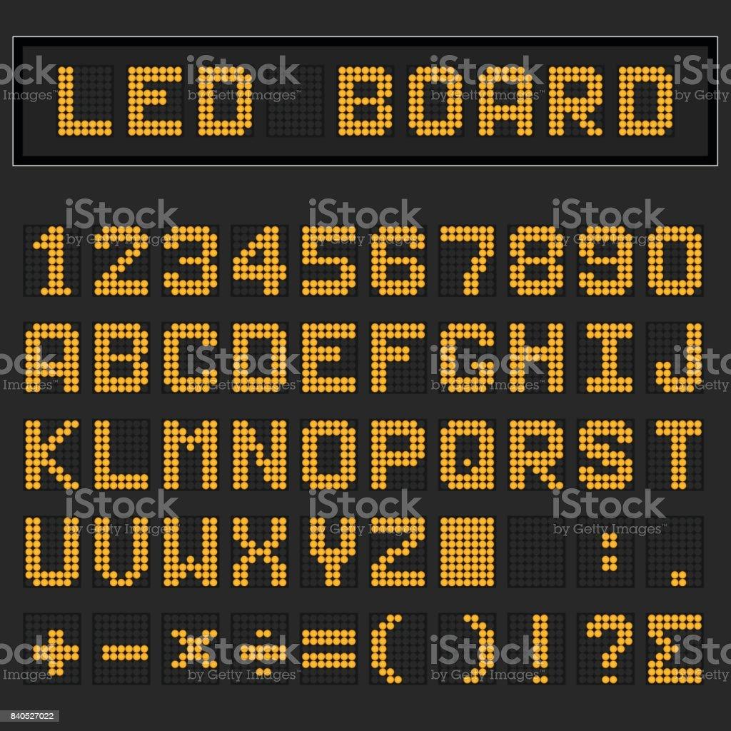 Orange LED englischen Großbuchstaben Schrift, Zahl und Mathematik Symbol Digitalanzeige auf schwarzem Hintergrund – Vektorgrafik