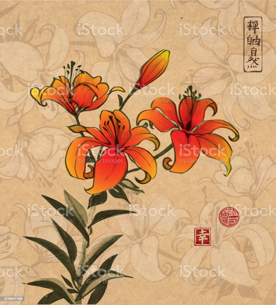Orange lily flowers on vintage background with flowers stock vector orange lily flowers on vintage background with flowers royalty free orange lily flowers on izmirmasajfo
