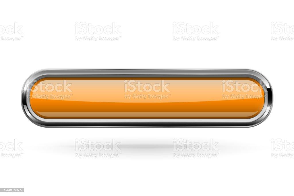 Ilustración de Botón Rectángulo Largo Naranja Con Marco Cromado ...