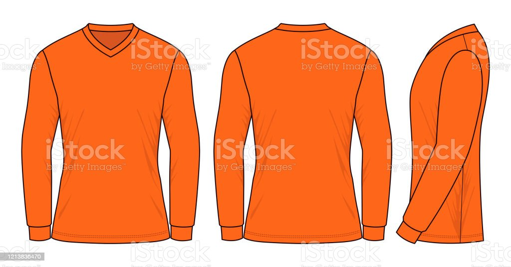 Orange Long Sleeve Football Shirt Vector Pour Template