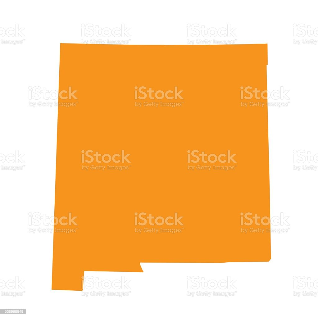 orange map of New Mexico vector art illustration