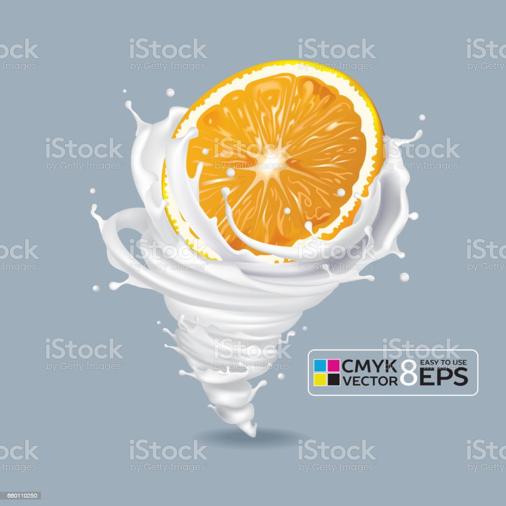 Orange Milk Tornado vector art illustration