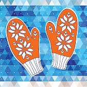 Orange mittens on the triangle background