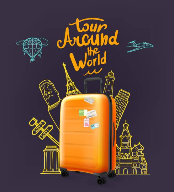 ilustrações, clipart, desenhos animados e ícones de mala de viagem plástica moderna alaranjada com logotipo da rotulação. em torno do conceito da excursão do mundo - viagem