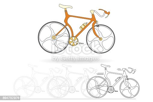 Vtt orange isolement sur fond blanc noir et blanc esquisse - Bicyclette dessin ...