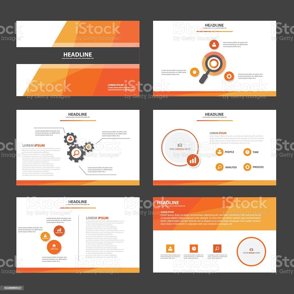 Orange multipurpose presentation Templates flat design set for brochure vector art illustration