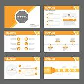 Orange Multipurpose presentation Templates flat design set