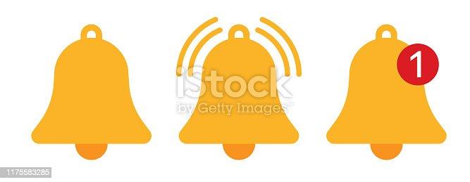 Orange notification bell icons vector illustration pictogram