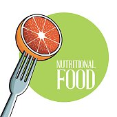 orange nutritional food fork image poster vector illustration eps 10