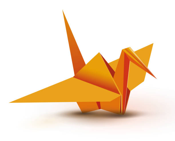 Orange Origami Crane Vector Art Illustration