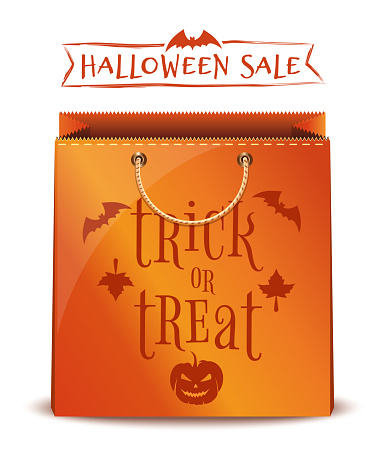 Orange package with inscription - trick or treat