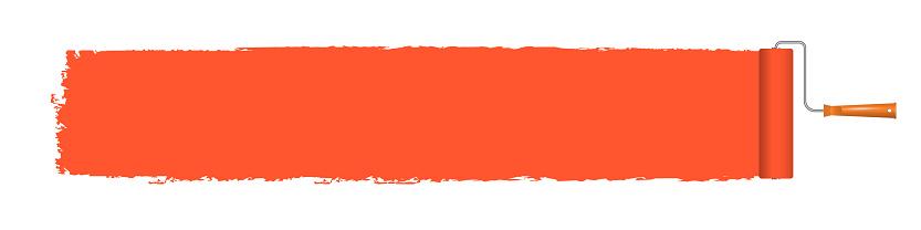 Orange paint roller brush banner. Vector illustration 3D