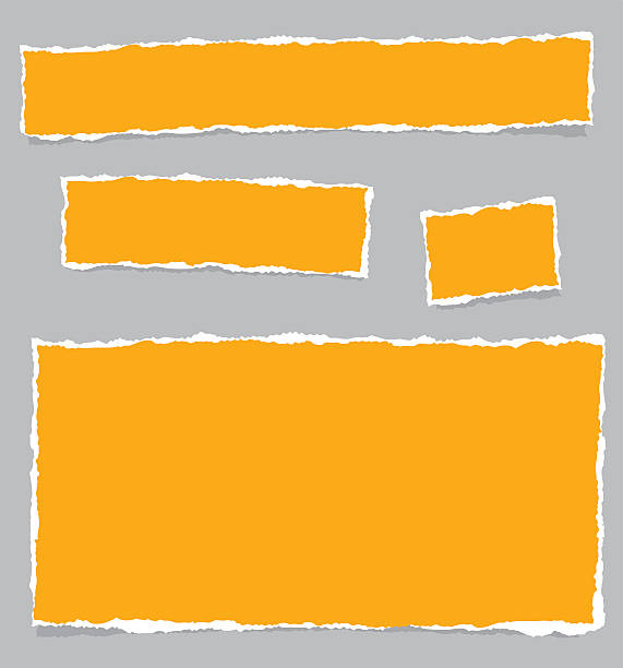 Orange paper pieces on a grey background vector art illustration