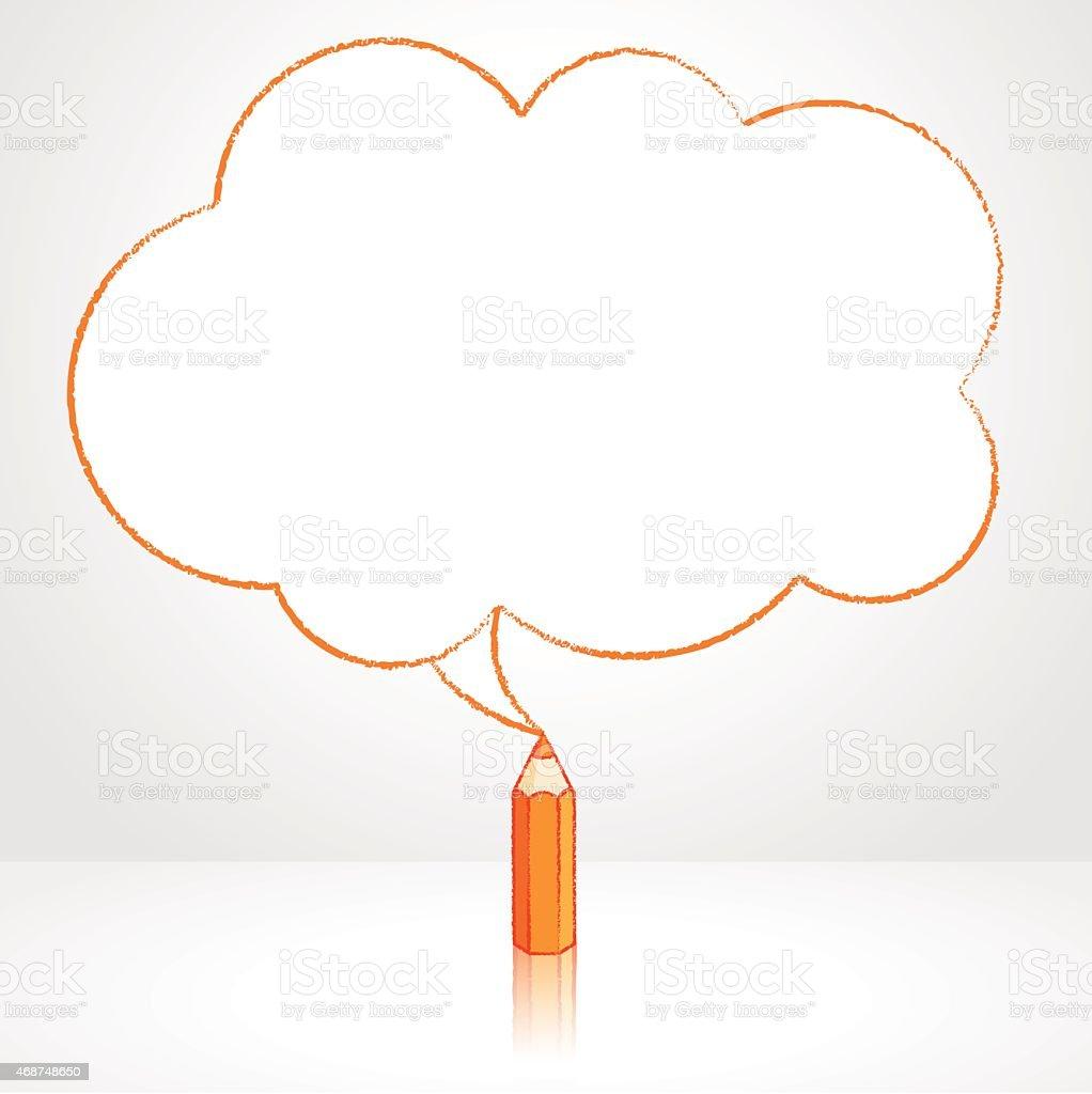 orange pencil drawing fluffy cloud speech balloon stock