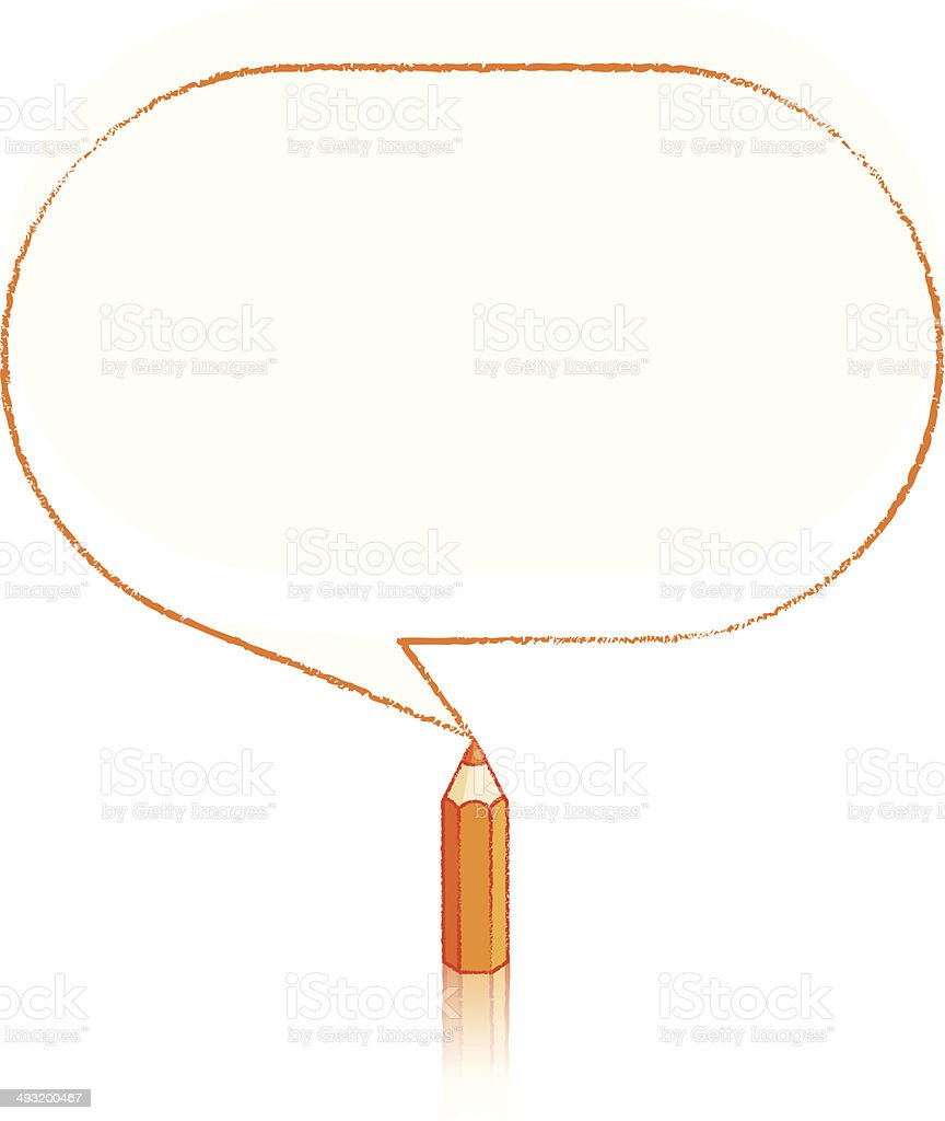 Orange Pencil Drawing Oblong Speech Balloon vector art illustration