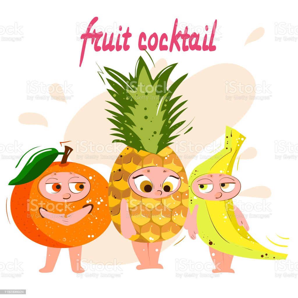 Orange Ananas Banane Fruits Drôles De Dessin Animé Avec Des