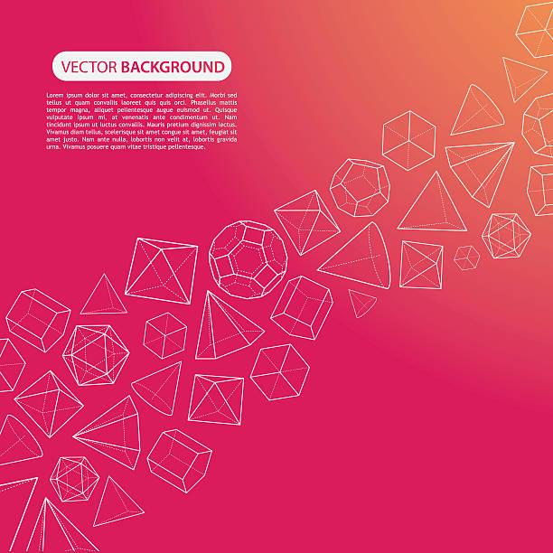 stockillustraties, clipart, cartoons en iconen met orange pink platonic solids flow background - veelvlakkig