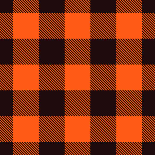 Orange Plaid Seamless orange plaid background. tartan pattern stock illustrations