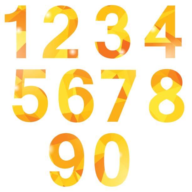 Orange Polygonal Numbers vector art illustration