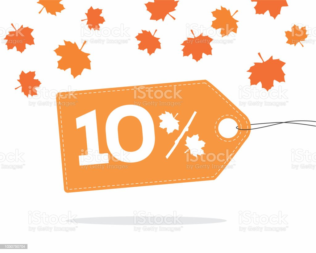 10% orange price label with leaves for autumn sale campaigns. vector art illustration