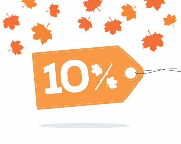 10% orange price label with leaves for autumn sale campaigns. Orange price tag label with 10% text designed with an autumn maple leaf and stick branch percent icon with shadow on white background with leaves. For autumn sale campaigns. azerbaijan stock illustrations