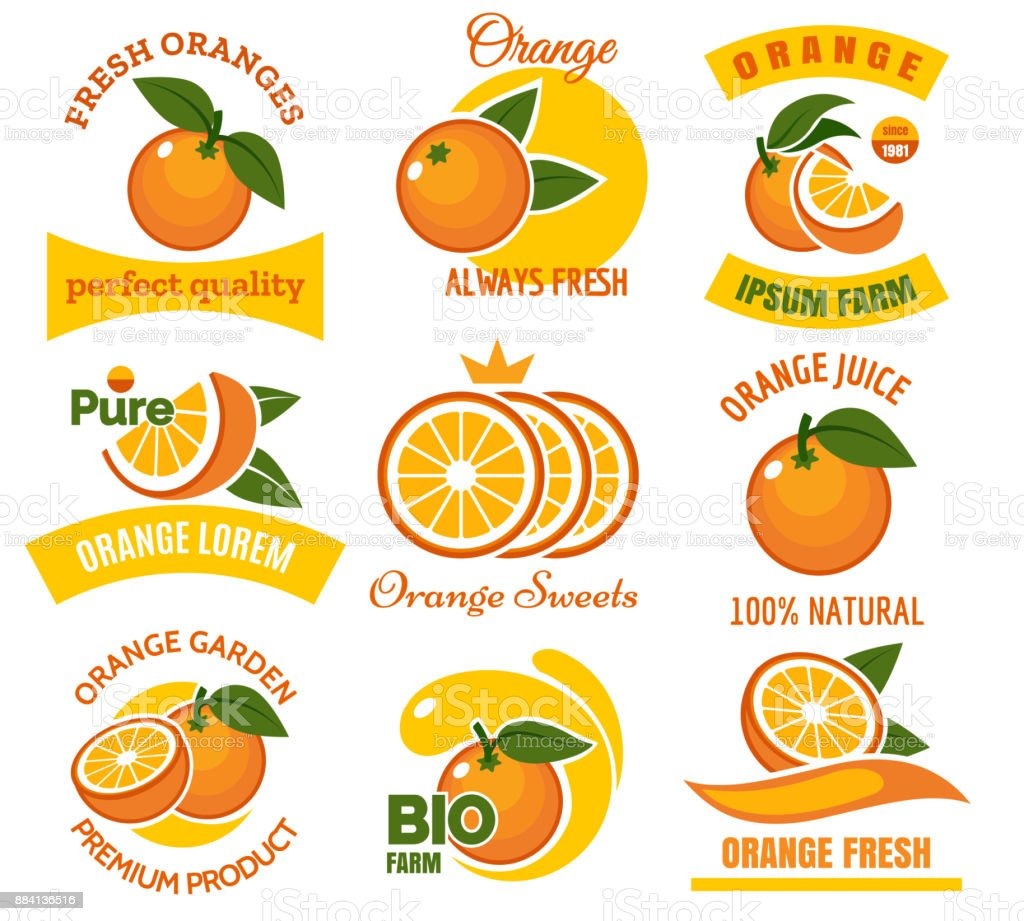 Orange products emblems set