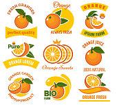 Orange products emblems set