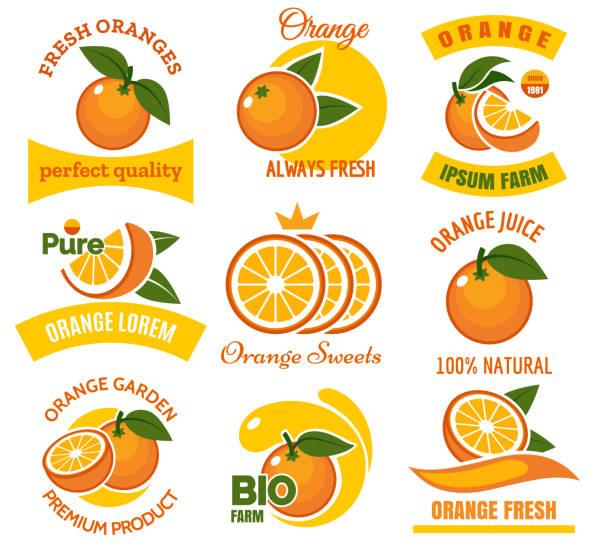 bildbanksillustrationer, clip art samt tecknat material och ikoner med orange produkter emblem set - apelsin