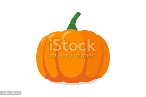 istock Orange pumpkin. Autumn halloween vegetable flat graphic icon isolated on white background. Vector illustration 1167853935