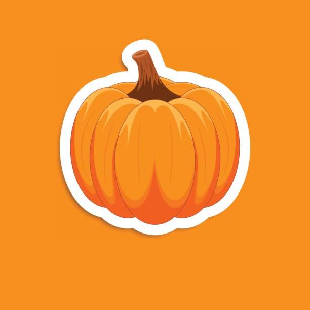 orange kürbis-aufkleber. - flaschenkürbis stock-grafiken, -clipart, -cartoons und -symbole