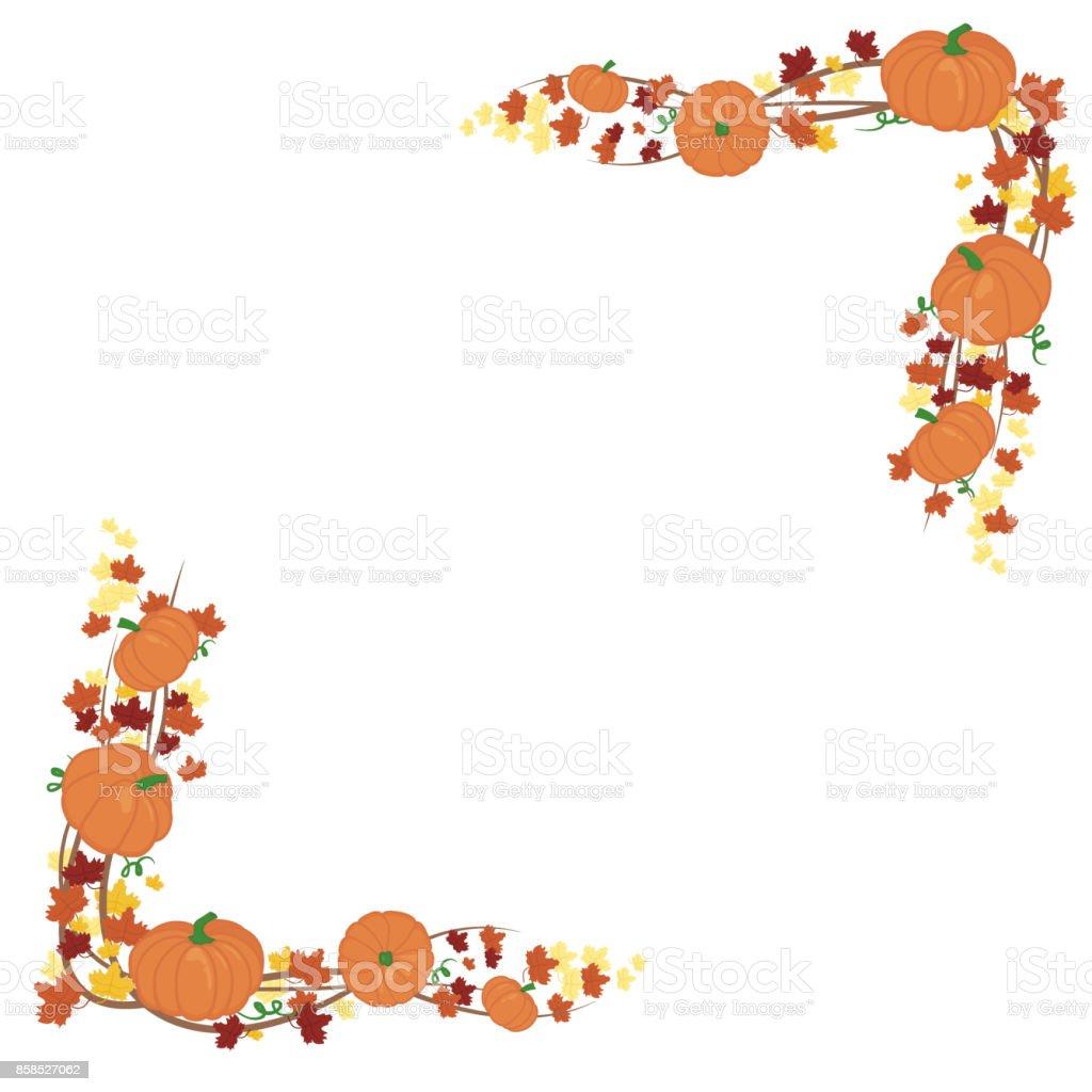 Orangefarbene Kürbisse Grenze Design Herbst Vektor Orange Kürbisse ...