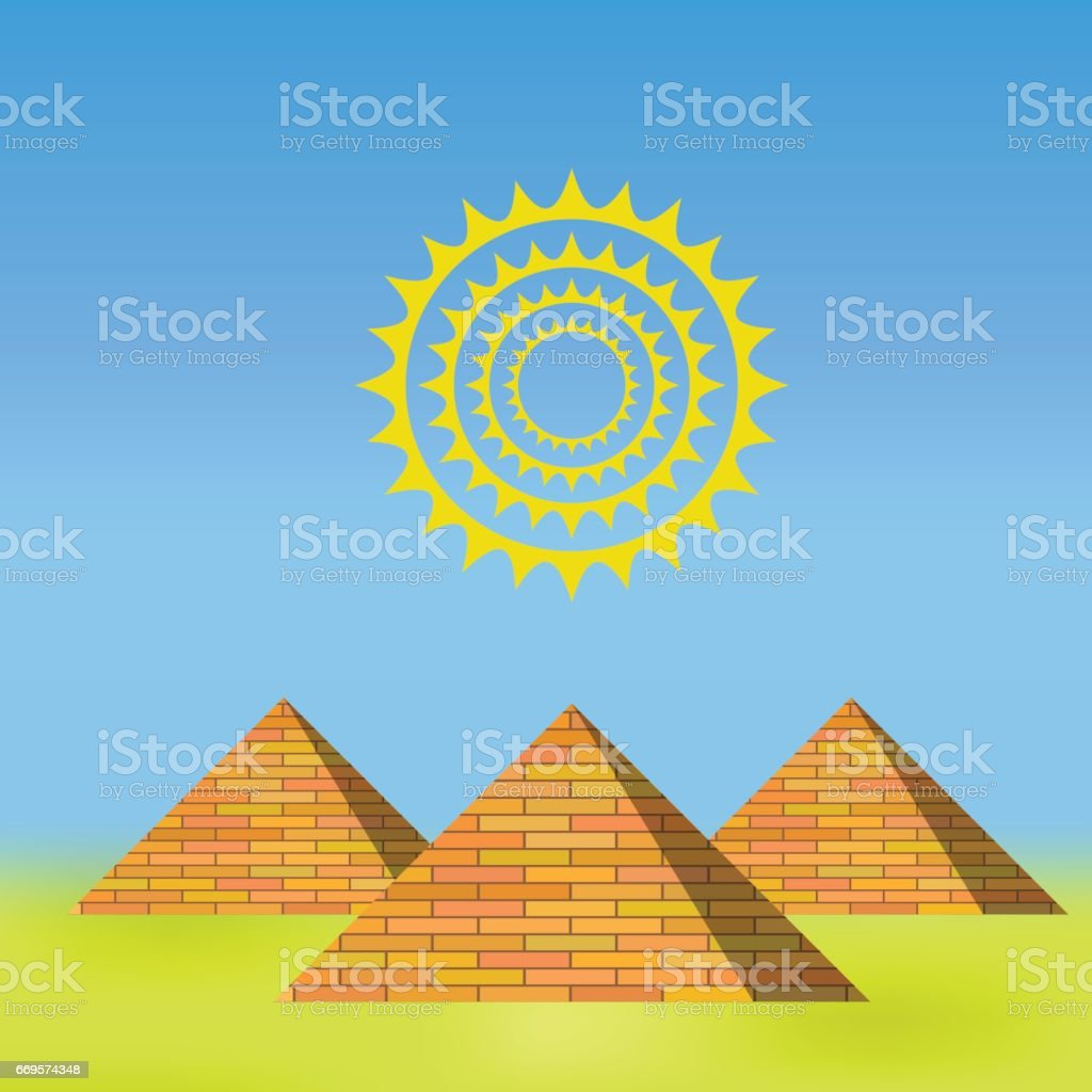 Orange Pyramids Background vector art illustration