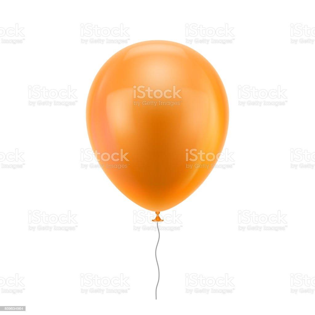 Balão realista laranja - ilustração de arte em vetor