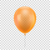 Orange realistic balloon. Orange ball isolated on a transparent background for designers and illustrators. Balloon as a vector illustration