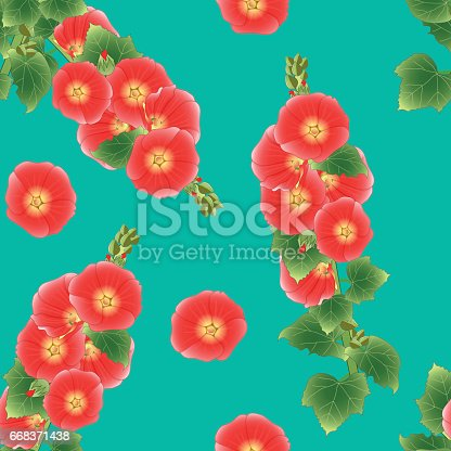 Orange Red Alcea Rosea - hollyhocks, Aoi on Green Teal Background. Vector Illustration.