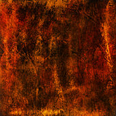 Orange, Red and Black Abstract Metallic Wall Texture. Grunge Vector Background.