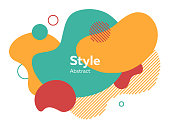Orange, red and green abstract elements. Hatched shapes, circles, layers, dynamical forms with text sample. Vector illustration for banner, poster, label, flyer design