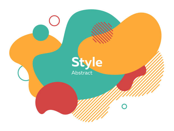 orange, red and green abstract elements - shapes stock illustrations