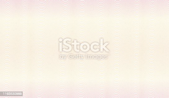 istock Orange, red, yellow watermark design. Line art zigzag pattern. Waving subtle curves. Vector abstract striped background. Guilloche for money protection, passport, banknote, cheque. EPS10 illustration 1193530988