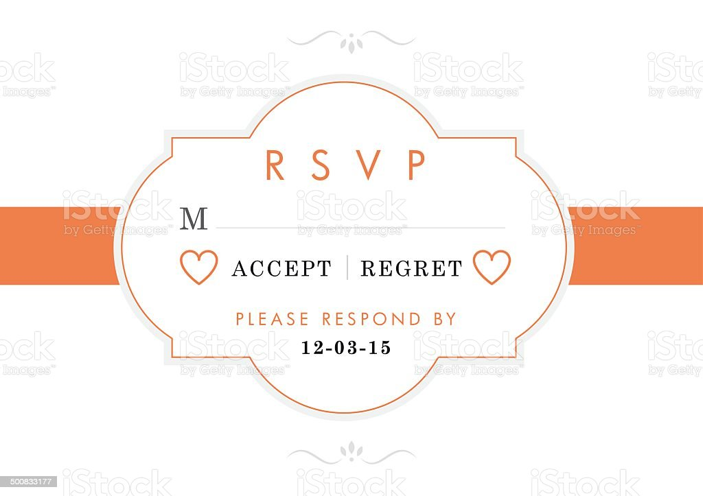 RSVP orange ribbon design theme royalty-free stock vector art