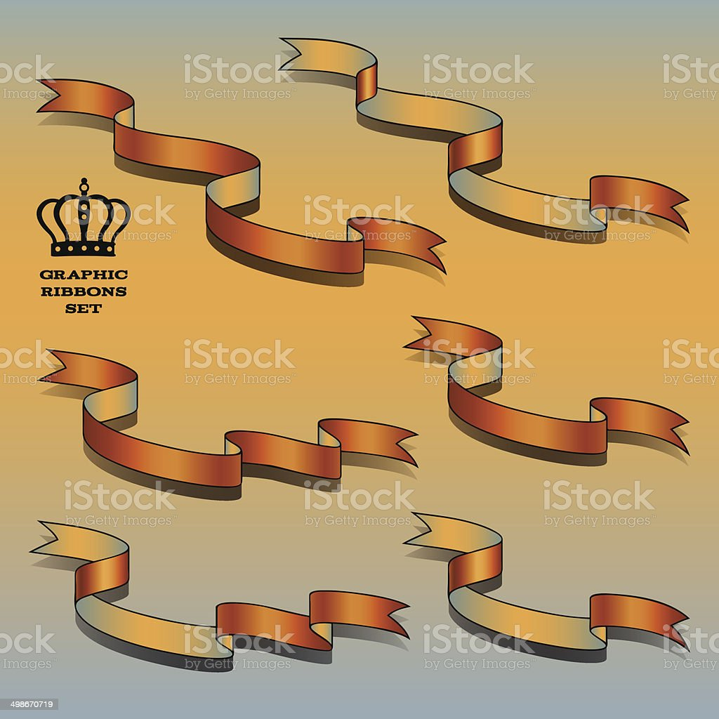 Orange ribbon set royalty-free stock vector art