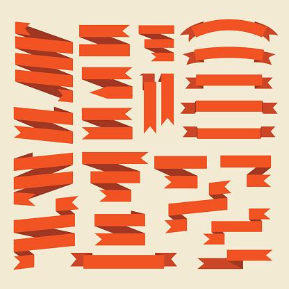 Orange ribbons set isolated on white background.Vector.Banner we